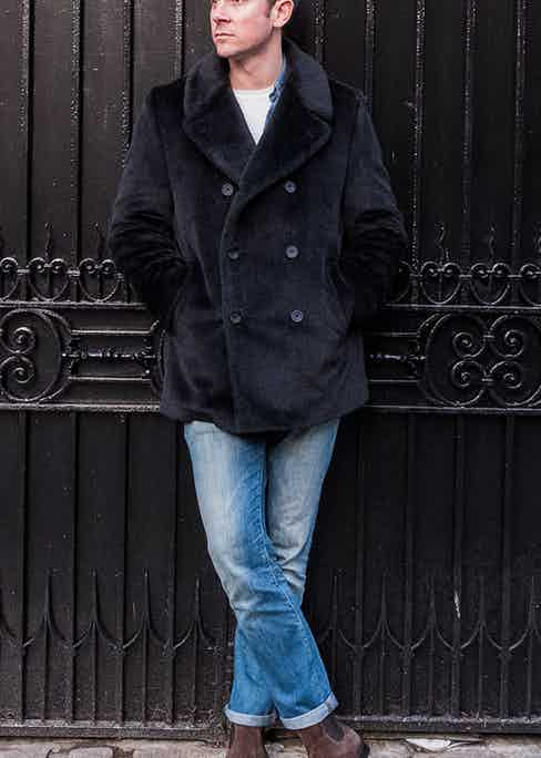 Although military in origin, Mason & Sons' pea coat is versatile enough to work really well with dressed down workwear.