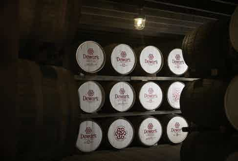 Barrels of Dewar's Fine Scotch.