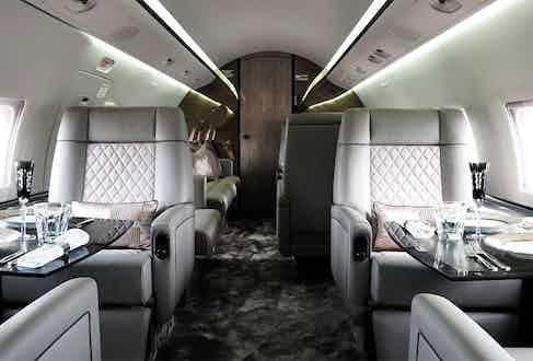 The Interior Challenger 604 jet.