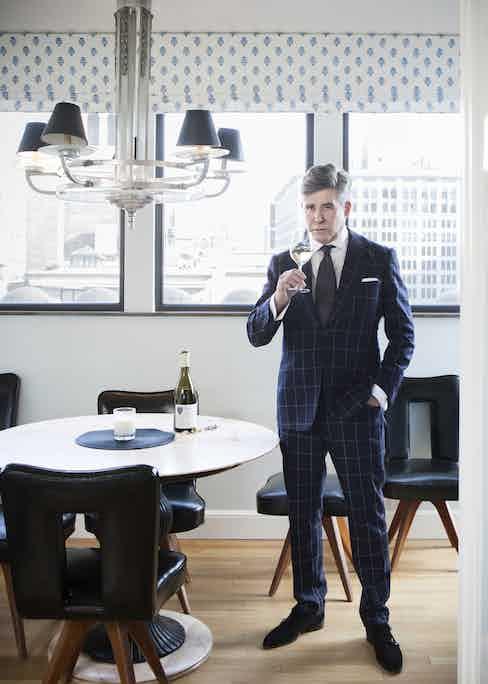 Windowpane suit, Cifonelli; bespoke shirt, Attolini; cufflinks, Prince Dimitri; tie, Chittleborough & Morgan; shoes, Gaziano & Girling.