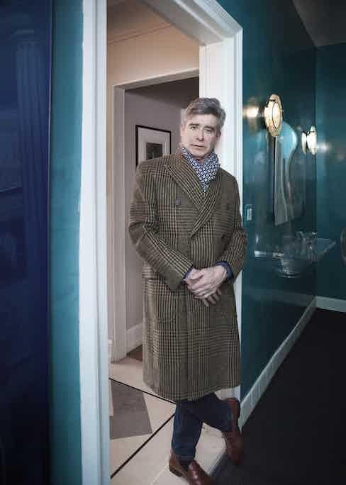 Bespoke coat, Miller's Oath; scarf, Cesare Attolini; shoes, Bontoni.