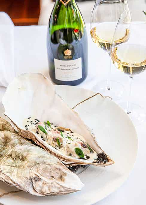 The first course at the launch lunch: a magnificent Duchy Estate Helford Oyster paired with La Grande Année 2008.