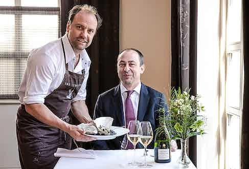 The Ledbury's Head Chef Brett Graham with Bollinger Cellar Master Gilles Descôtes.