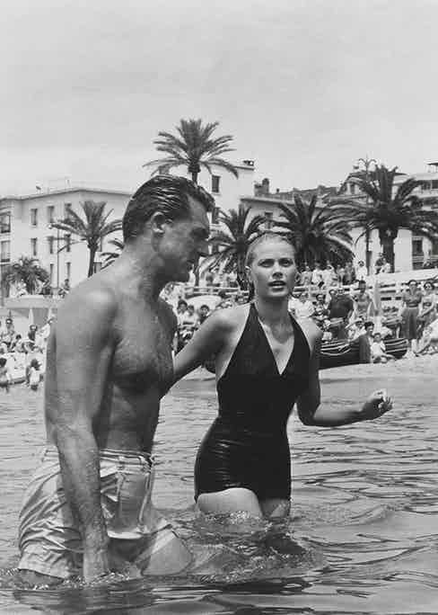 Cary Grant and Grace Kelly filming To Catch a Thief (1955).
