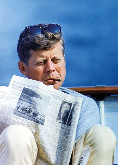 John F. Kennedy aboard the former presidential yacht the Honey Fitz in 1963.