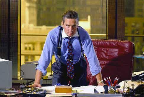 Michael Douglas as Gordon Gecko in Wall Street, 1987: an exemplar of traditional Wall Street style.