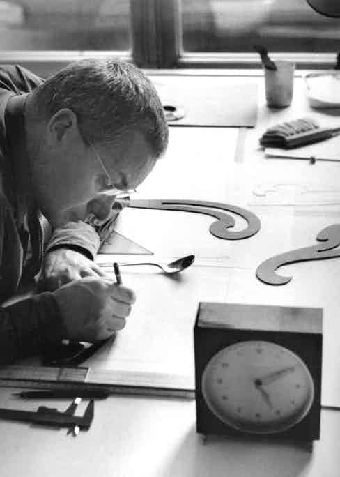 Max Bill working on his designs in 1952.
