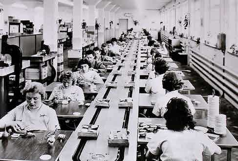The scale of production of Junghans is evident in this image from circa 1960.