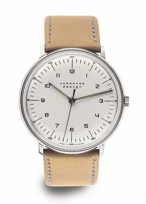 The inimitable Max Bill aesthetic, featured here with a beige strap.