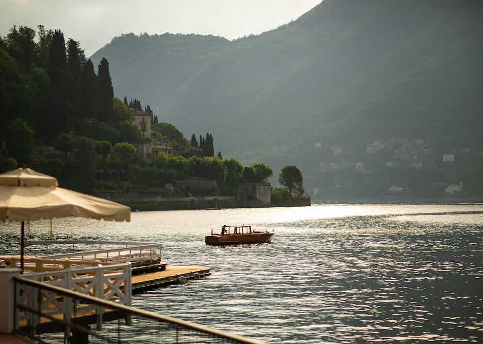 The still waters of Lake Geneva, taken from Ville d'Este.