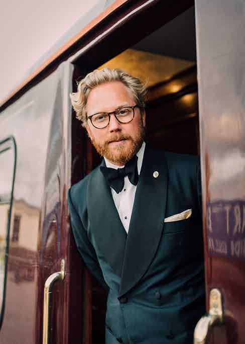 Andreas sporting a bespoke sweeping shawl collar tux by the excellent Saint Gregory and a bow tie to top all bow ties.