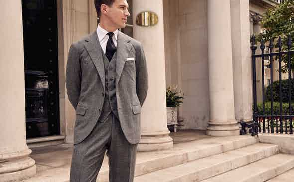 Sartoria Vestrucci x Fox Brothers Three-Piece Prince of Wales Flannel Suit