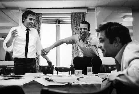 Ben Gazzara and Peter Falk during the filming of Husbands