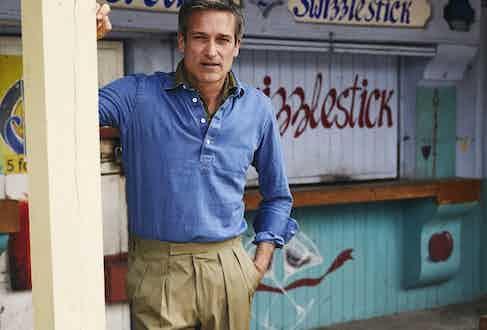 Royal blue long sleeve stoned washed denim polo shirt, Naked Clothing; olive linen short sleeve polo shirt, Stenstroms; khaki cotton slim Aleks trouser, Kit Blake.