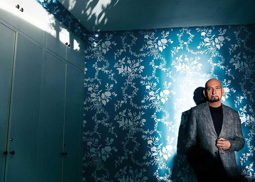 Light blue linen windowpane-check sports jacket, Ermenegildo Zegna; navy cashmere crewneck knit, Dolce & Gabbana; denim jeans, Paige; navy silk pocket-square, Ermenegildo Zegna; black leather custom-made brogues, Borgioli.