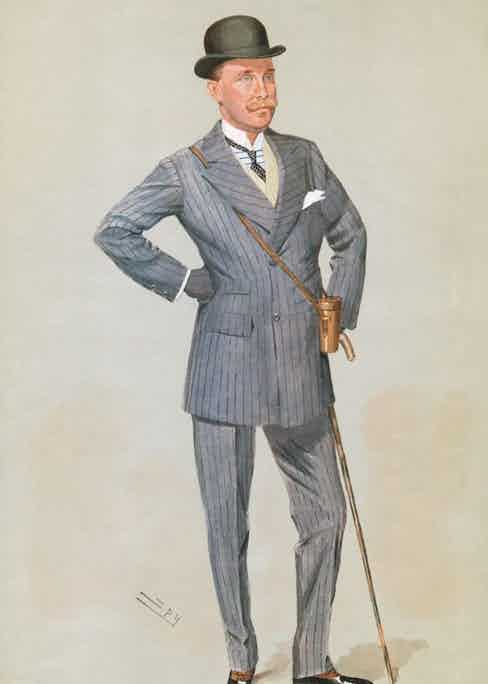 British racehorse owner and Steward of the Jockey Club, Major Eustace 'Lucky' Loder (1867 - 1914), circa 1910. Portrait by Spy (Leslie Ward) for Vanity Fair Suplpement. (Photo by Hulton Archive/Getty Images)