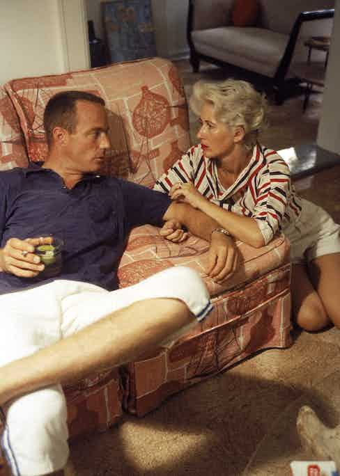 Scott Carpenter at home with his wife, Rene prior to a mission in 1959.