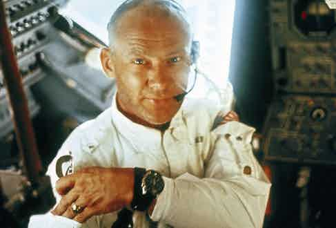 Buzz Aldrin on the 1969 Apollo 11 mission, during which he became the second man to set foot on the moon.