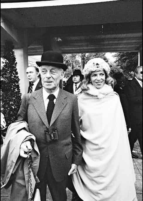 Baron Guy de Rothschild and Baroness Marie-Hélène at the Prix de l'Arc de Triomphe horse race in 1977