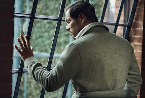 Green herringbone wool safari jacket, De Petrillo; white brushed wool and cotton leisure shirt, Magnus & Novus.