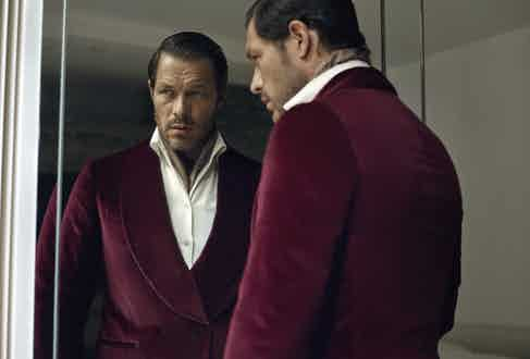 Burgundy cotton velvet Positano dinner jacket, De Petrillo; white brushed wool and cotton leisure shirt, Magnus & Novus; brown cotton neckerchief, Anderson & Sheppard.