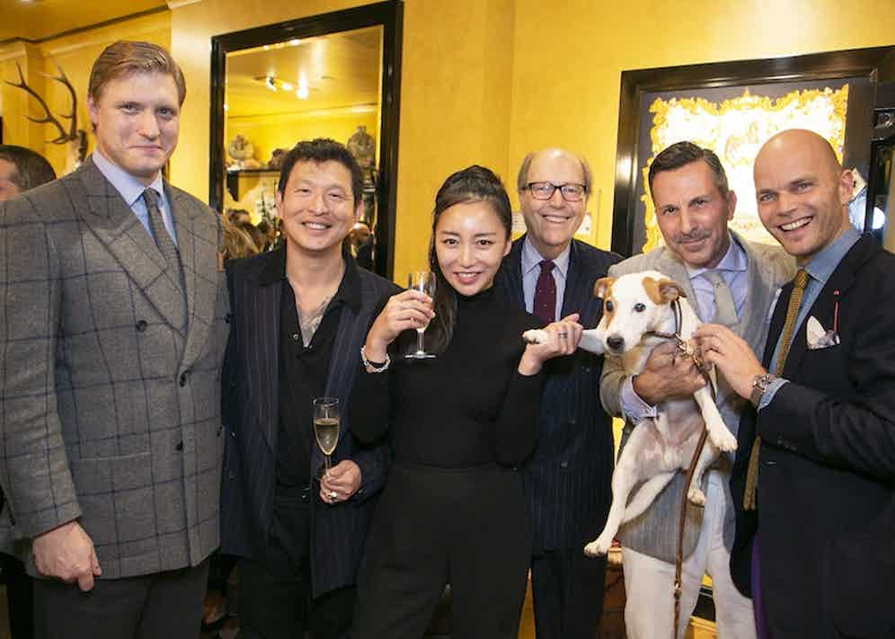 Tom Chamberlin, Wei Koh, Yuri Choi, Mariano Rubinacci, Alexander Kraft with Bertie the dog and Luca Rubinacci.