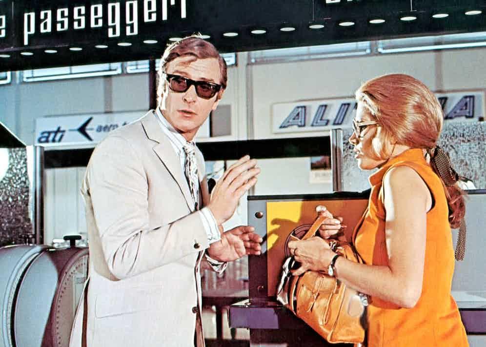 Michael Caine opposite Maggie Blye in The Italian Job (1969).