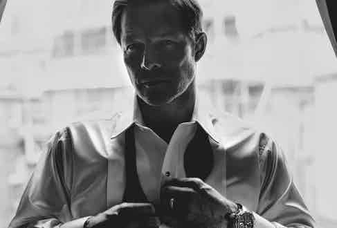 White Waffle cotton dress shirt, black onyx and silver dress studs and cufflinks set, both Budd Shirtmakers; black silk bow tie, Favourbrook; black wool and mohair tuxedo trousers, Cifonelli; RM 025 manual winding tourbillon chronograph driver's watch, Richard Mille.