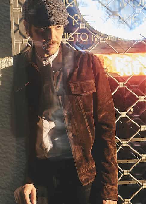 White Giuliano jacquard cotton Oxford shirt; brown Ennio suede Trucker jacket; black cotton 12.5oz Japanese selvedge denim jeans.