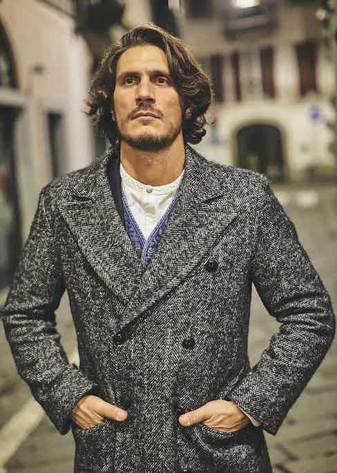 Grey VBC x Barbanera herringbone wool Harlock double-breasted military coat; blue washed denim Jesse vest; white Giuliano jacquard cotton Oxford shirt.
