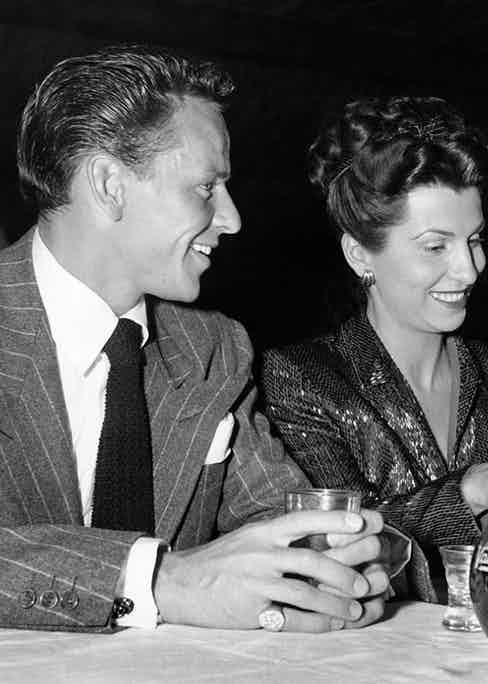 Frank Sinatra with his wife Nancy at Slapsie Maxie's night club, Los Angeles, California, c. 1946. (Photo by Underwood Archives/Getty Images)