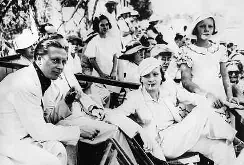Dietrich with husband Rudolf and daughter Maria at a polo game in Los Angeles (Photo by Getty Images)