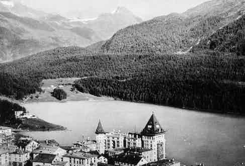View of Lake St. Moritz and Badrutt's Palace Hotel.