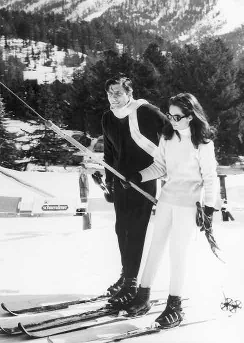 German playboy Gunter Sachs driving with an unknown person on the ski lift in St. Moritz, 1965. (Image by © STR/Keystone/Corbis)