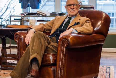 Author and men's style aficionado G. Bruce Boyer, modelling his own timeless attire.