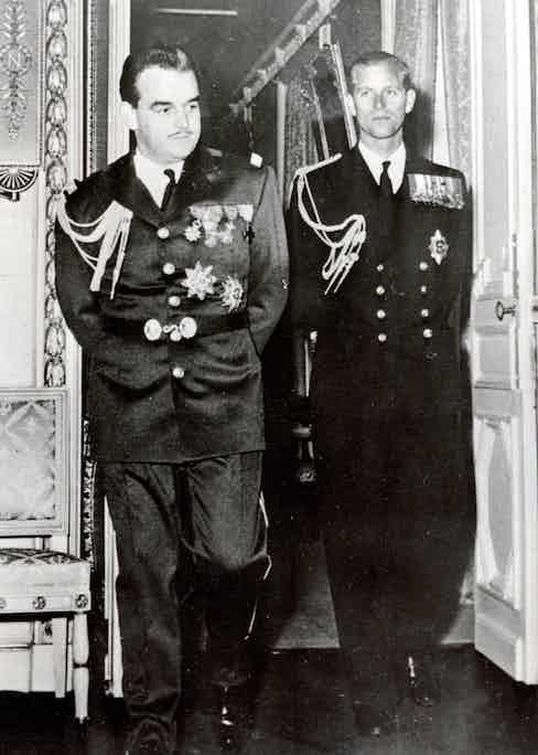 Prince Phillip, Duke of Edinburgh with Rainier on a visit to Monaco in 1951.