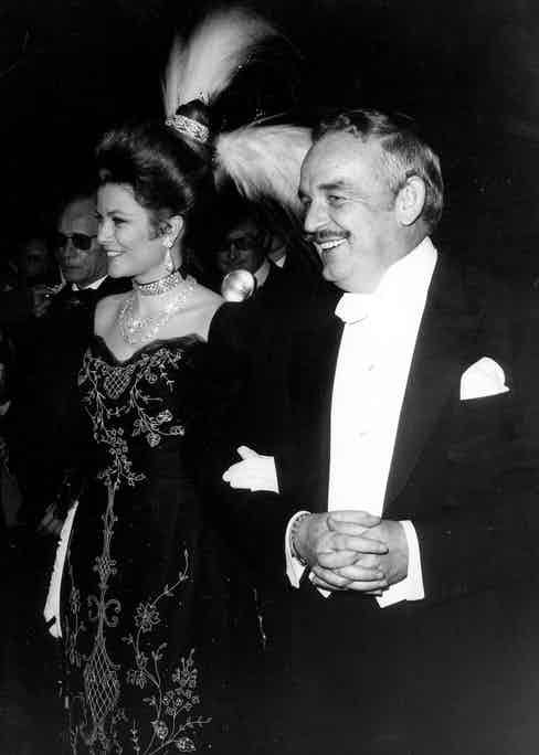 Grace and Rainier arrive at the Casino Ball, 1968.