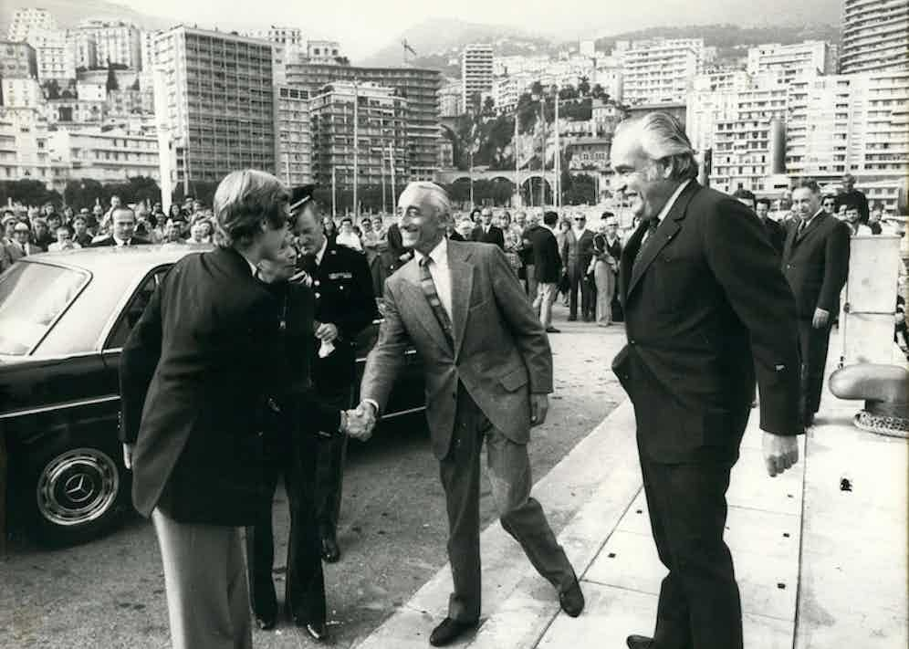 Jacques Cousteau is introduced to Rainier's son and the current prince of Monaco, Albert.