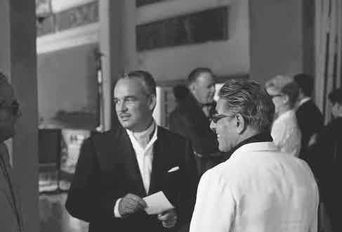 Prince Rainier and Aristotle Onassis in Majorca, 1961. (Photo by REPORTERS ASSOCIES/Gamma-Rapho via Getty Images)
