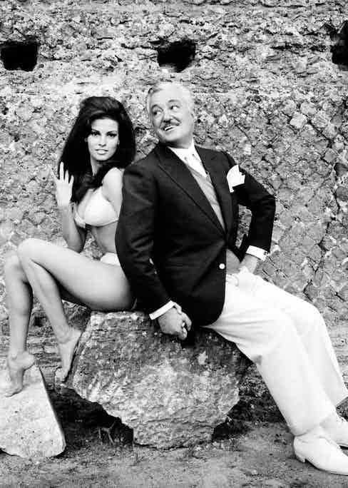 Vittorio De Sica acting with Raquel Welch in the 1968 film The Biggest Bundle Of Them All. (Photo courtesy of Getty).