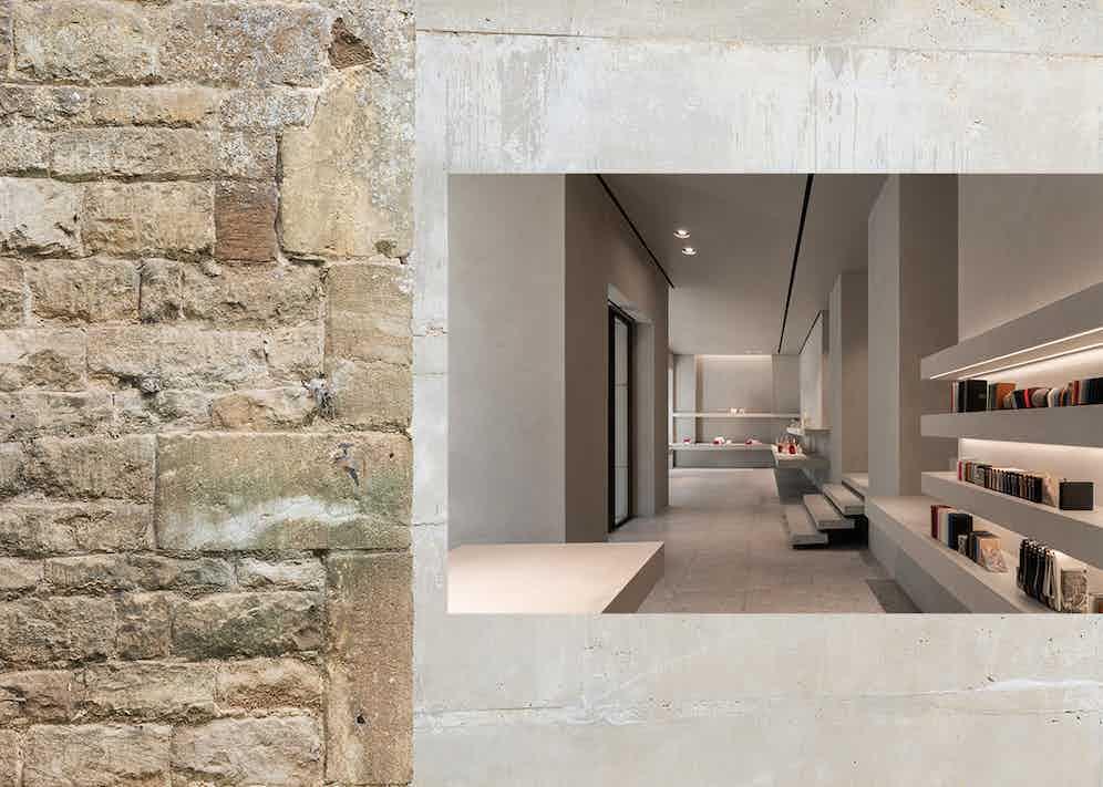 The John Pawson-designed Valextra boutique in Milan.