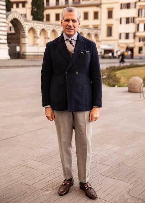 American tailor Paul Stuart at Pitti (Photo by Rikesh Chauhan)