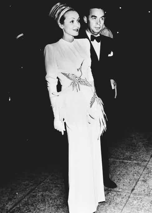 Dietrich with Erich Maria Remarque at a film premiere in 1939. Photo by Roger-Viollet/REX