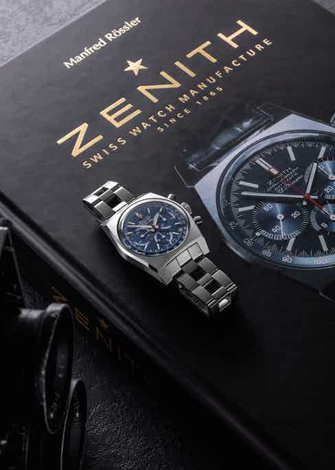 """The Zenith × Revolution Chronomaster Revival A3818 """"Cover Girl"""" and the book Zenith: Swiss Watch Manufacture Since 1865 are both now available on Revolution's e-shop, at shop.revolution.watch."""