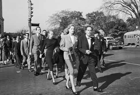 The Bogarts, who took a risk in making a stand against the Communist witch hunt, on the march in the U.S. capital. Image by © Bettmann/CORBIS