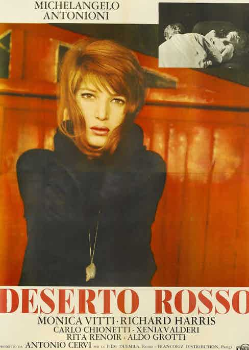 Actress Monica Vitti appears on a poster for the Italian movie 'Deserto Rosso' ('Red Desert'), written and directed by Michelangelo Antonioni, 1964. (Photo by Movie Poster Image Art/Getty Images)