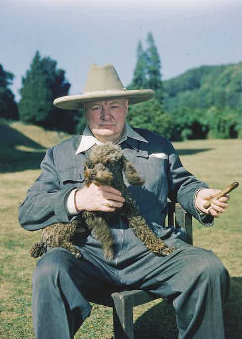 British politician and Prime Minister Winston Churchill (1874 - 1965) sits with his poodle, Rufus, and smokes a cigar on his estate at Chartwell, near Westerham, Kent, England, 1950. (Photo by Mark Kauffman/Time & Life Pictures/Getty Images)