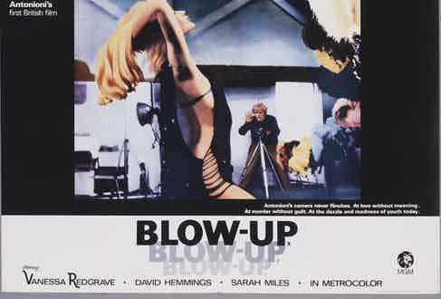 A poster for Michelangelo Antonioni's 1966 drama 'Blow-Up' starring David Hemmings and Vanessa Redgrave. (Photo by Movie Poster Image Art/Getty Images)