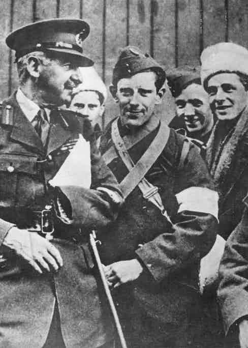 Carton de Wiart with members of the Friends' Ambulance Unit on their return from the Norwegian campaign of 1940.