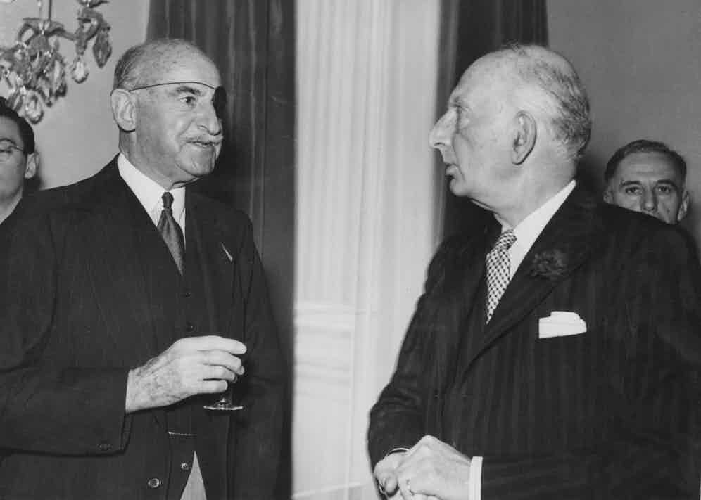 Adrian Carton de Wiart with the British Joint Parliamentary Under-Secretary of State for Foreign Affairs Gerald Isaacs, 2nd Marquess of Reading, at the Austrian Legation in Vienna, 1951,